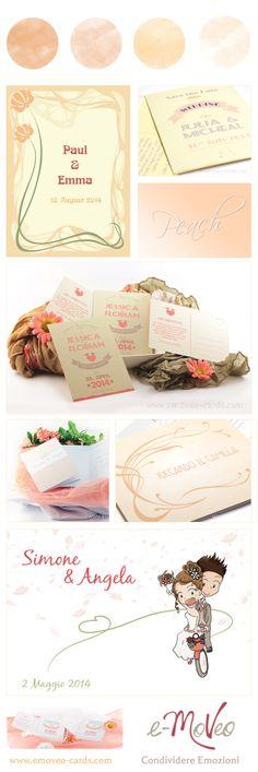 Wedding peach Color - Hochzeit Pfirsichfarbe - Matrimonio pesca by e-MoVeo Cards www.emoveo-cards.com