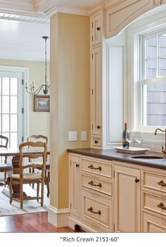 For the home on pinterest 259 pins for Cream kitchen cabinets with white trim