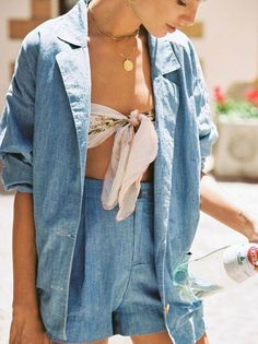 Chambray set + scarf