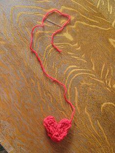 finger knit hearts