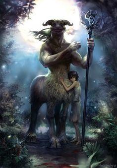 Protection of the Centaur • Marine Boy, fantasy art, warrior, Centaur, part man, male, horse, hest, kid, child, protecting, weapon, stick, mythical, forrest, trees, wood, spirit, beautiful.