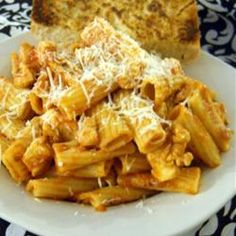 Rigatoni with Chicken Thighs, Rosemary, Lemon Zest and Roasted Garlic ...