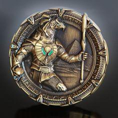 Antique Gold Horus Stargate Geocoin - Star Gate Spacegate