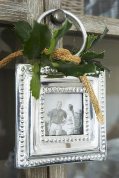 Photo ornament...silver frames...silver frames...it's Christmas time in the city.....
