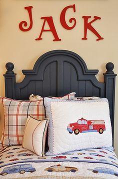 child room, fire trucks, letter, boy bedrooms, big boys, little boys rooms, kid room, red walls, big boy rooms