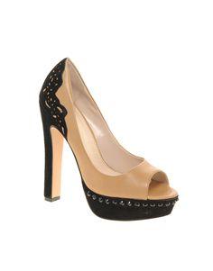 Honeysuckle Lace Trim Platform Court Shoes