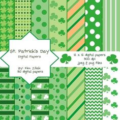 St. Patrick's Day Digital Papers {30 papers} $3.50