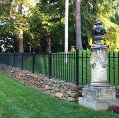 Iron and stone fence | My New House Ideas | Pinterest