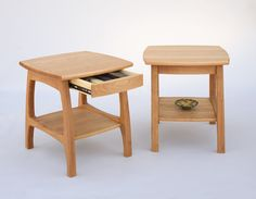Linnaea End Tables with drawers in Natural Cherry