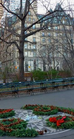 NYC. Central Park at West 72nd Street. The Dakota and Strawberry Fields.