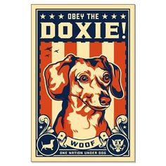 A statement of true Dachshund Patriotism. dachshund patriot, obey, dogs, anim funni, doxi, anim poster, posters, poster prints, usa poster