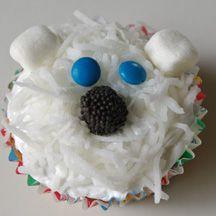 bear cupcak, polar bears, cupcakes, bear parti, birthday parties, bear party, polarbear, winter activities, 4 kids