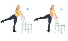 Liberty Arabesque: Stand facing the back of a chair. Extend your right leg and lift it into the air. Your hips will be slightly open to the right. Try to really engage and reach through the right leg. Slide the shoulders away from your ears and pull the abdominals in. Take a breath in, then exhale, engaging your thigh and calf, and rise up onto the ball of your left foot, lifting left heel off the floor.