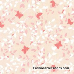 Fabric... Bella Butterfly Sweet Leaves in pink by Patty Sloniger