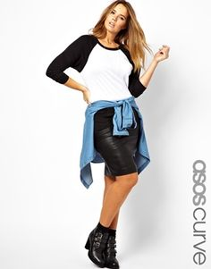 Baseball t-shirt, leather pencil skirt, waist-tied denim shirt, black boots.