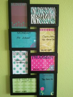 Weekly calendar. Design each frame with scrapbook supplies, then use dry erase marker on the glass. so cute!