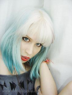 bleached platinum and teal dyed hair~  She bleached her hair with Kair highlighter bleach, and coloured the blue with Crazy Colours – Sky blue and emerald green.  (GORGEOUS Hair)