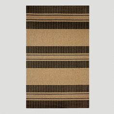 Black Textured Stripe Indoor-Outdoor Rug-World Market