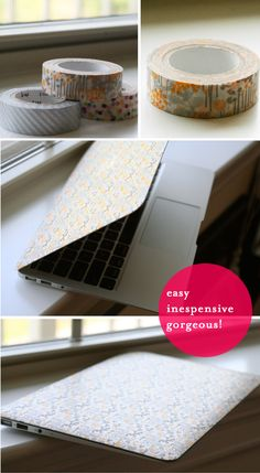 DIY a thrifty and beautiful laptop skin with washi tape
