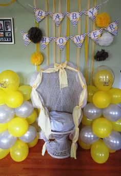Rubber Ducky Baby Shower Party Chair!  See more party planning ideas at CatchMyParty.com!