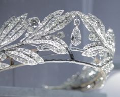 """Tiara owned by Pss Marie Bonparte, made by Cartier in 1907 in the all-diamond version (some of the diamonds can be exchanged for square-cut emeralds). A t the """"Cartier Style et l'Histoire"""" Exhibition, Grand Palais, Paris (Dec 2013- Feb 2014)"""