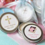 Personalized Baptism Candle Tins