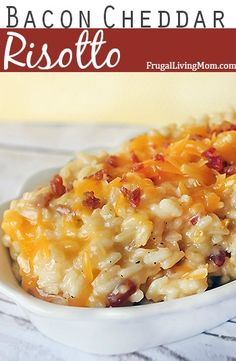 Cheddar Bacon Risoto Think macaroni and cheese, on a pedestal. If the thought of one more night of rice,pasta, or potatoes as a side dish makes you want to pull your hair out, risotto is a wonderful substitute.