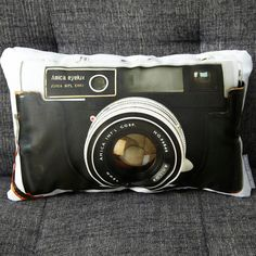 That's pretty neat decor, idea, stuff, vintage cameras, cushion, camera pillow, design, pillows, photographi