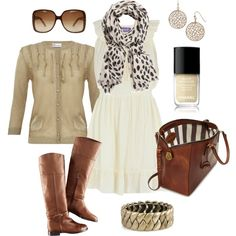 white dress for fall-- add cognac colored accessories boots sweater dress spring fall
