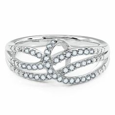 Smart Value® 1/4ct TW Diamond Swirl Ring available at #HelzbergDiamonds