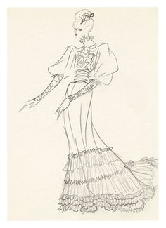 1971 - YSL sketch - dress for Jane Birkin for the Bal Proust @ FondationBergeYSL sketch, coutur yves, yves saint laurent