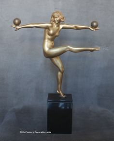 """A stunning Art Deco French bronze figure by Marcel-Andre Bouraine, circa 1925, """" Jongleuse""""."""