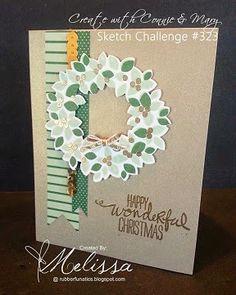 Stampin' Up! Wondrous Wreath by Melissa Davies @ rubberfunatics