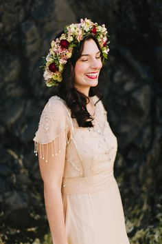 bohemian floral crown, photo by Dylan and Sara Photography http://ruffledblog.com/woodland-portland-elopement #floralcrown #bohemian #wedding