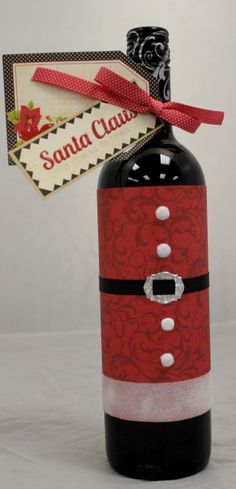 How to wrap a bottle as a holiday present!! :) What a great idea!!