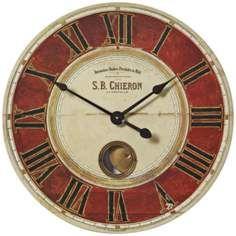 "S.B. Chieron Red Cream 23"" Wide Round Wall Clock"
