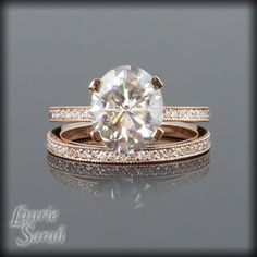 Moissanite and Diamond Engagement Ring in 14kt Rose Gold with Matching Diamond Wedding Band - LS1899. $5,488.22, via Etsy.