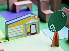 free printable download - print this DIY paper toy house and tree to make! www.smallforbig.com #diy #papertoys @printable