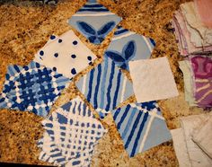 blue and white soon to be chenille blanket