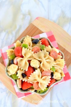 Pizza Pasta Salad - pasta salad with mini pepperoni and all the veggies from a pizza ~ perfect salad for after a busy day at school or work!