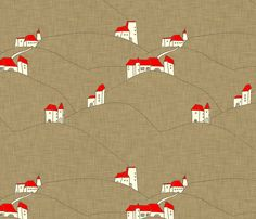countryside_architecture_linen fabric by holli_zollinger on Spoonflower - custom fabric