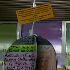 Teaching persuasive devices: students write an example, then link together 5 or 6 together into a ball and display as examples for other students to follow.