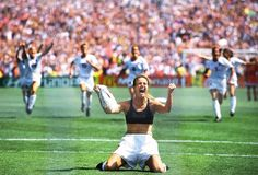 Brandi Chastain famously celebrates after scoring the winning shootout goal against China during the 1999 World Cup.
