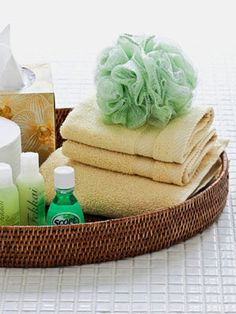 Bathroom Basics- The unofficial houseguest's bill of rights should include a fresh towel and washcloth, plenty of TP (without having to hunt for it — so leave an extra roll in sight), and tissues. But prep for the unfortunate folks who forget a toiletry or two by holding on to sample-size shampoo, toothpaste, and the like.