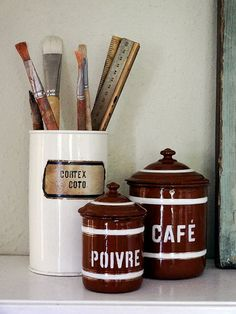 vintage French enamelware canisters set – available at AtticAntics on Etsy