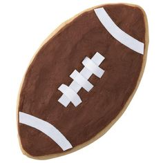 Your home team will huddle around these thrilling football-shaped cookies—they make the game more exciting! Create the stripes and stitching with White Sugar Sheets!™ Edible Decorating Paper.
