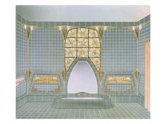 Bathroom Interior Designed by Henri Sauvage and Sarazin, from 'Documents D'Art Moderne', 1900-03
