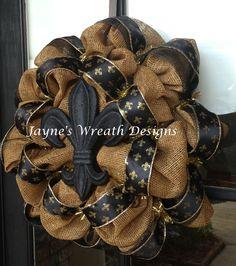 Saints burlap wreaths with black fleur de lis