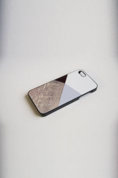 BlissfulCASE Geometric Color Block With Wood Print