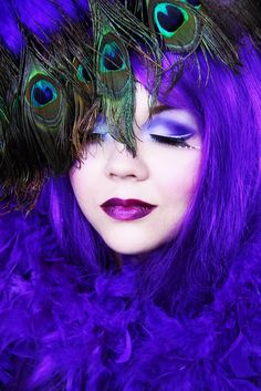 purple/blue with peacock feathers